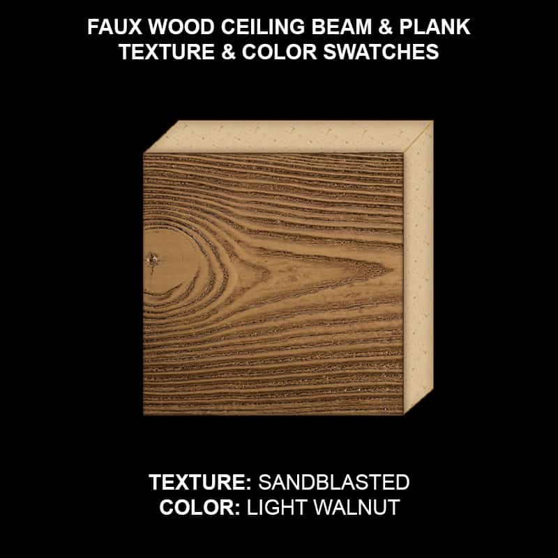 Faux Wood Ceiling Beam & Plank Swatch - Sandblasted in Light Walnut