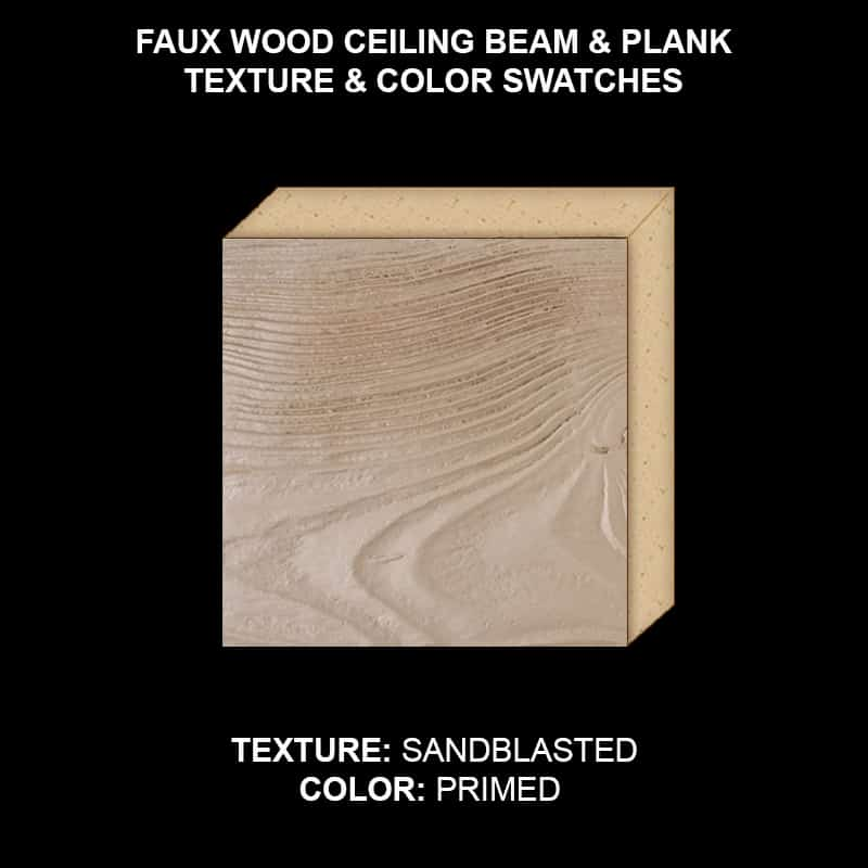 Faux Wood Ceiling Beam & Plank Swatch - Sandblasted in Primed