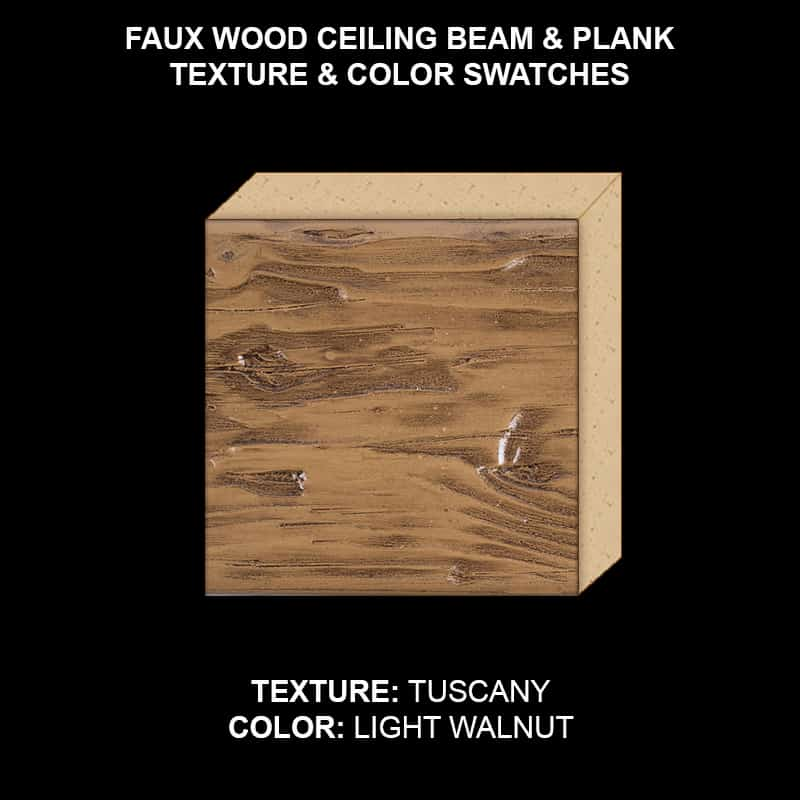 Faux Wood Ceiling Beam Swatch - Tuscany in Light Walnut