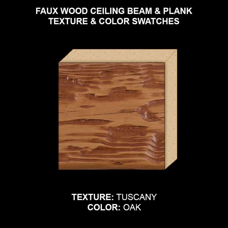 Faux Wood Ceiling Beam Swatch - Tuscany in OAK