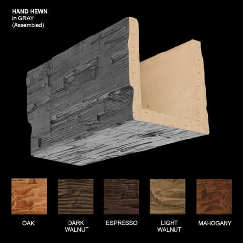 Faux Wood Ceiling Beam Sample - Hand Hewn - Gray - Assembled