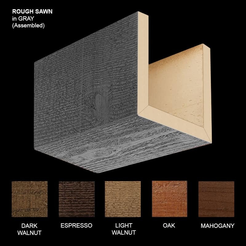 Faux Wood Ceiling Beam Sample - Rough Sawn - Gray - Assembled
