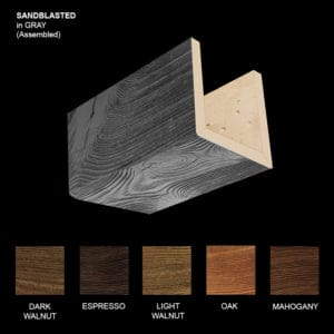 Faux Wood Ceiling Beam Sample - Sandblasted - Gray - Assembled