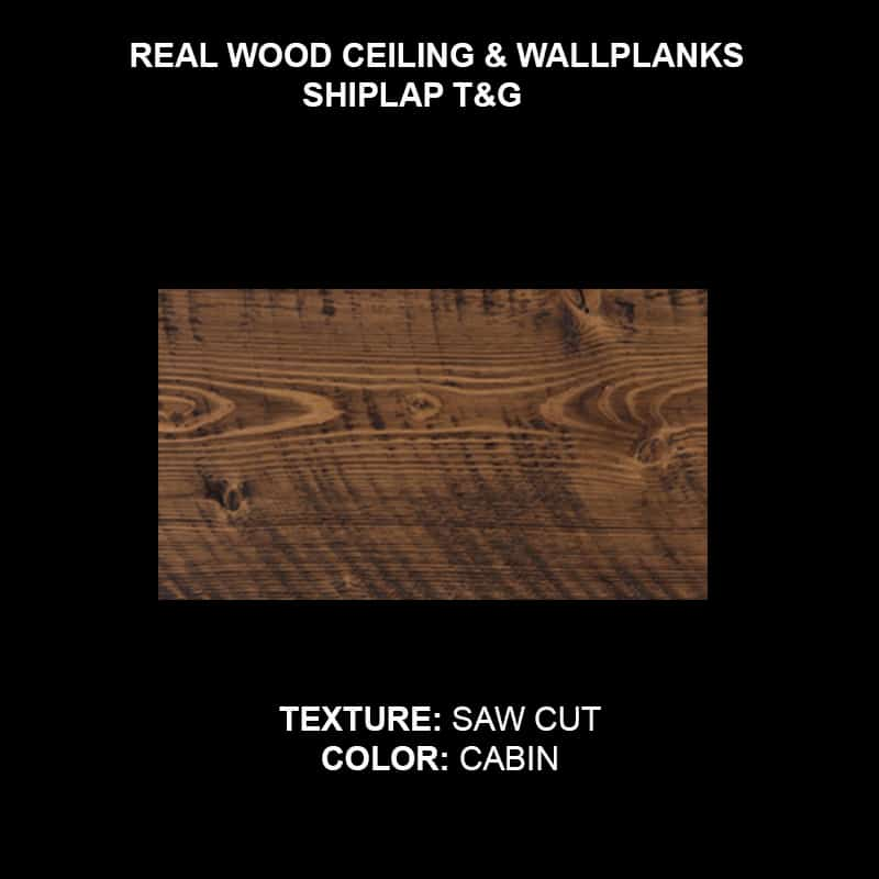 Wood Ceiling & Wall Planks - T&G Shiplap - Saw Cut - Cabin (Sample)