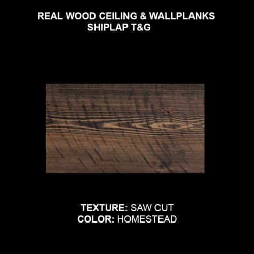 Wood Ceiling & Wall Planks - T&G Shiplap - Saw Cut - Homestead (Sample)