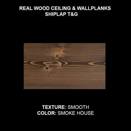 Wood Ceiling & Wall Planks - T&G Shiplap - Smooth - Smokehouse (Sample)