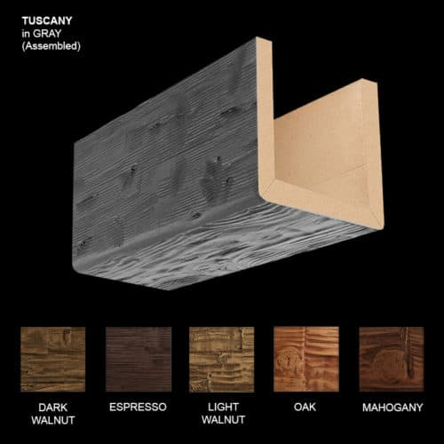 Faux Wood Ceiling Beam Sample - Tuscany - Gray - Assembled