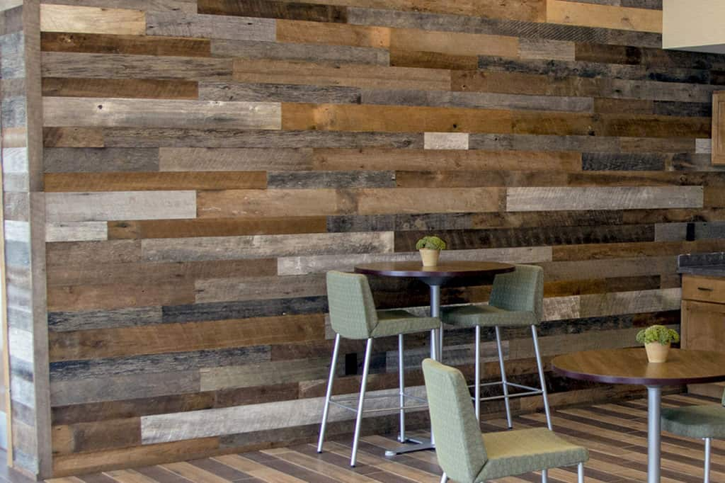 Wood Ceiling & Wall Planks - Reclaimed Distillery - Barrel Brown & Aged Gray Mix - Installed (1)