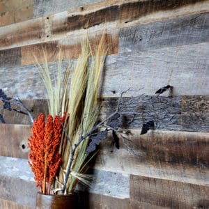 Wood Ceiling & Wall Planks - Reclaimed Distillery - Barrel Brown & Aged Gray Mix - Installed (2)