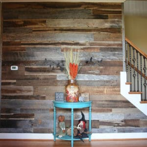 Wood Ceiling & Wall Planks - Reclaimed Distillery - Barrel Brown & Aged Gray Mix - Installed (3)