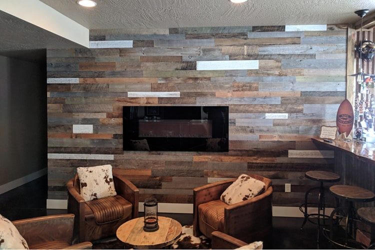 Wood Ceiling & Wall Planks - Reclaimed Distillery - MIX ALL - Installed (3)