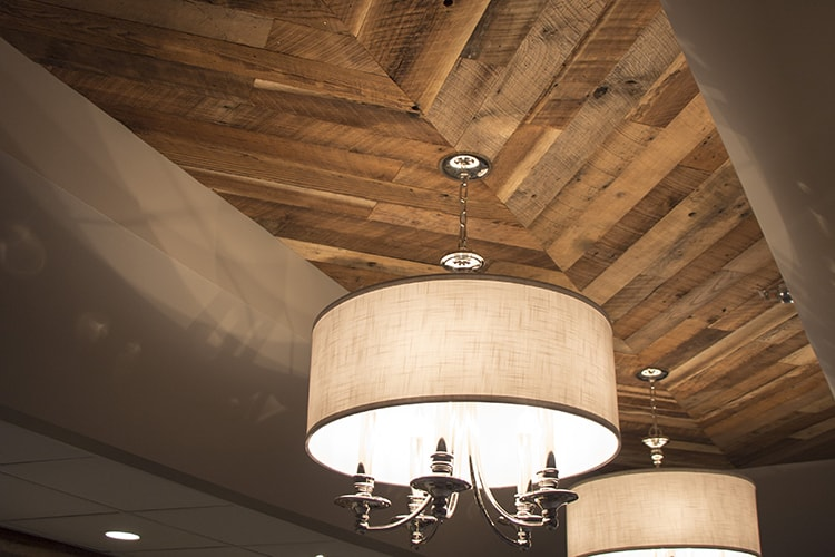 Wood Ceiling & Wall Planks - Reclaimed Distillery - Barrel Brown - Installed (1)