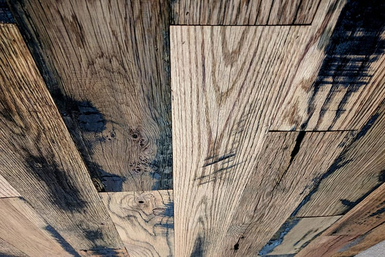 Wood Ceiling & Wall Planks - Reclaimed Oak Fence - Installed (1)
