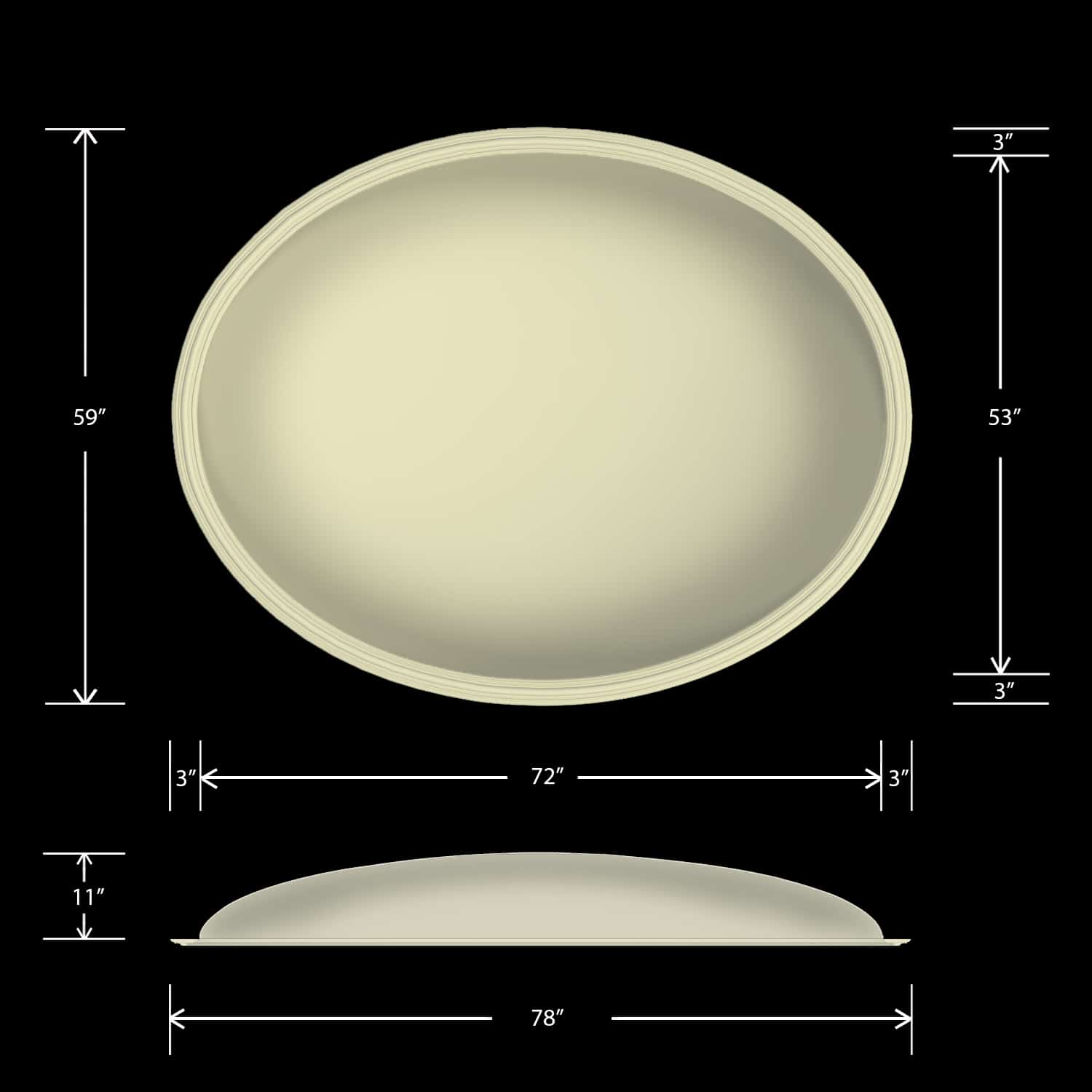 Ceiling Dome - Elliptical 59X78 - Classic Smooth