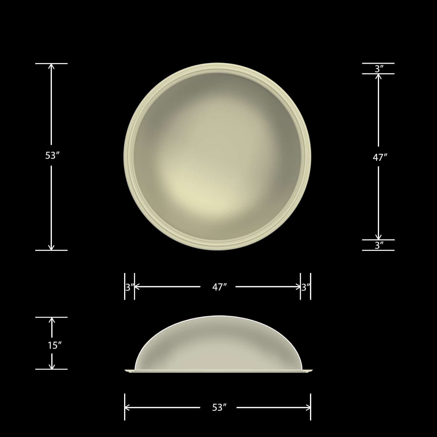 Ceiling Dome - Round 53 Inch - Classic Smooth