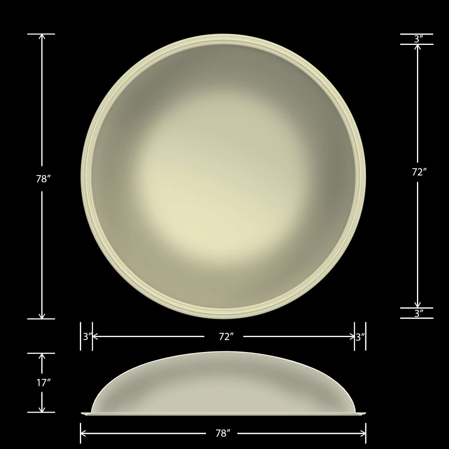 Ceiling Dome - Round 78 Inch - Classic Smooth