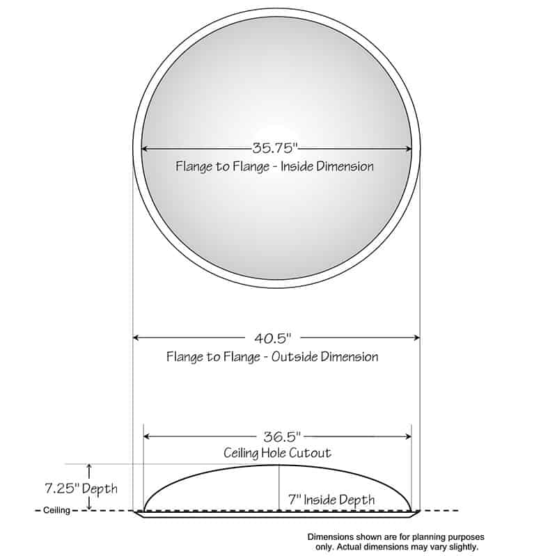 """Ceiling Dome - 40-1/2""""R x 7-1/4""""D - Classic Smooth Flange"""