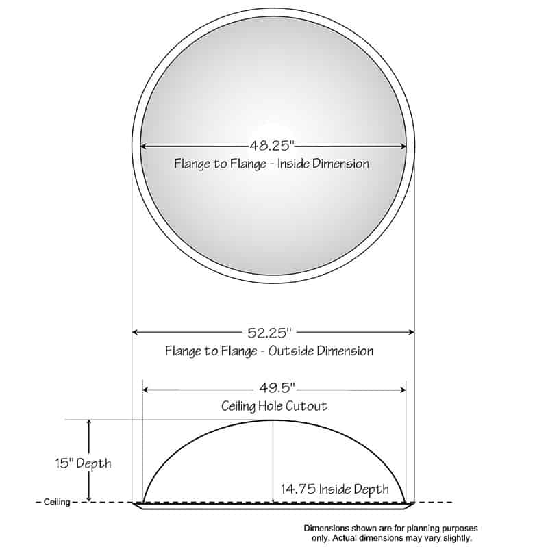 """Ceiling Dome - 52-1/4""""R x 15""""D - Classic Smooth Flange"""