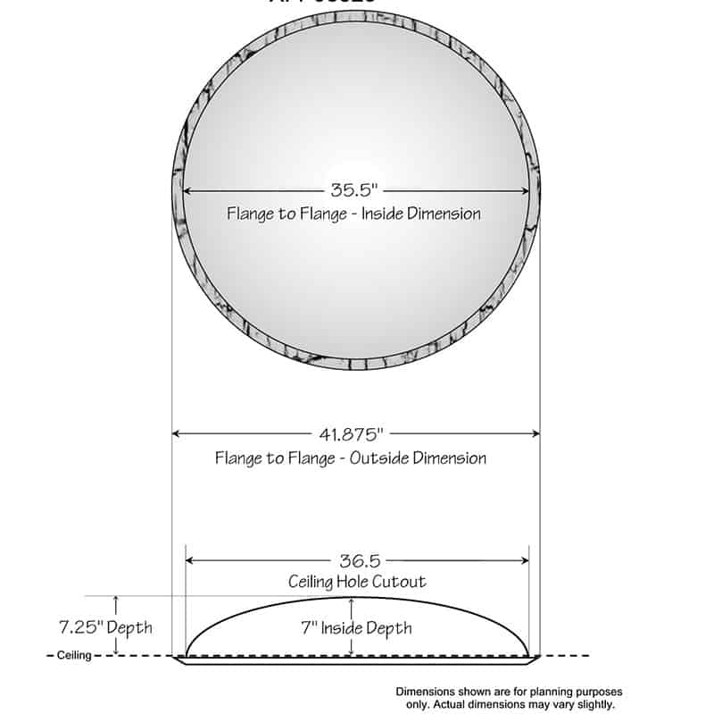 """Ceiling Dome - 41-7/8""""R x 7""""D - Running Coin Flange"""