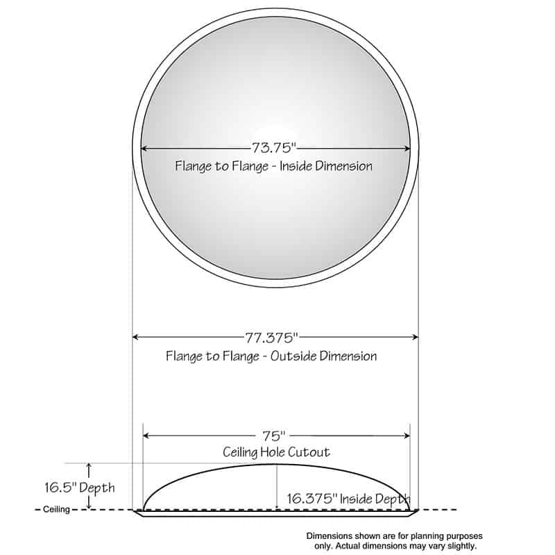 """Ceiling Dome - 77-3/8""""R x 16-1/2""""D - Classic Smooth Flange"""