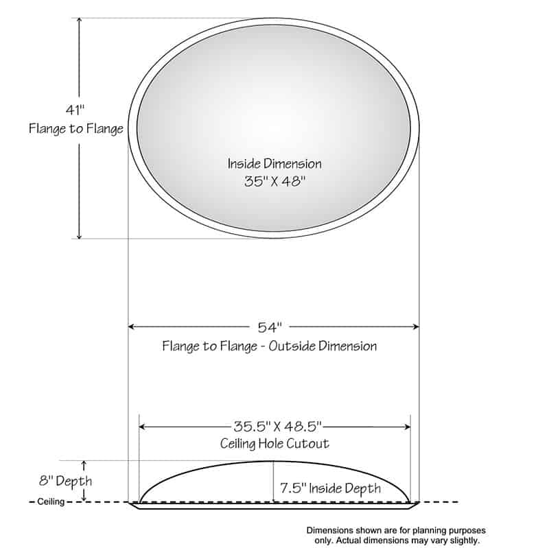 """Ceiling Dome - 41""""W x 54""""L x 8""""D - Classic Smooth Flange"""