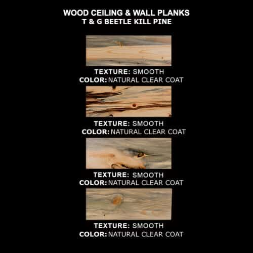 Ceiling & Wall Planks - Beetle Kill (Blue Stain) Pine T&G - Pick-4