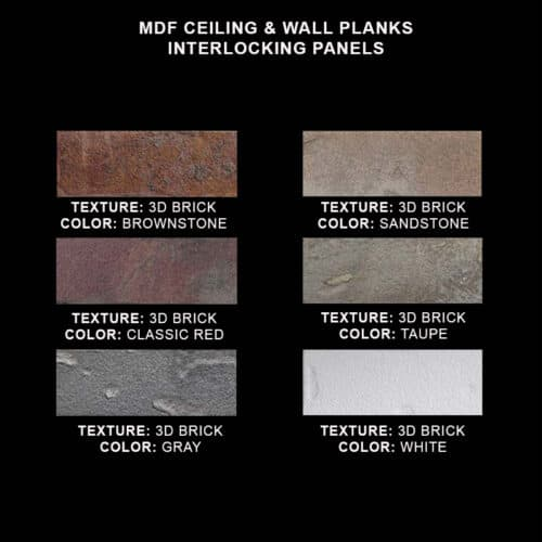 MDF Ceiling & Wall Planks - Faux Brick Sample Kit