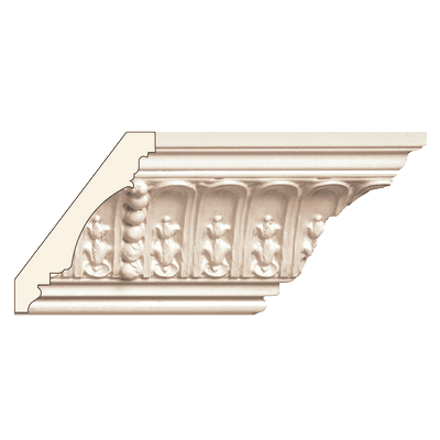Fluting and leaf with beads crown molding repeats 13 1 2